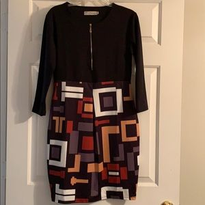 Black/multicolor 3/4 sleeve dress